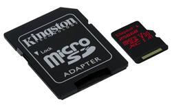 Kingston paměťová karta 256GB Canvas React micro SDXC UHS-I V30 (čtení/zápis: 100/80MB/s) + SD adaptér