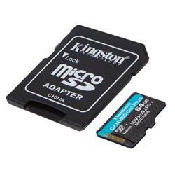 Kingston paměťová karta 64GB microSDXC Canvas Go Plus 170R A2 U3 V30 Card + ADP